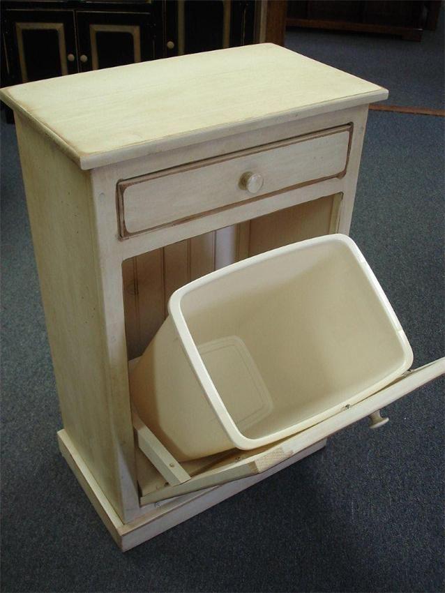 Amish Pine Tilt Out Trash Bin Cabinet with Drawer  Trash