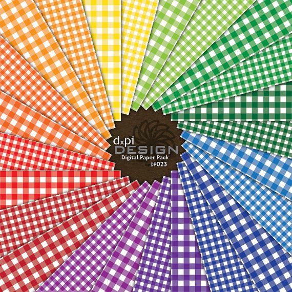 Gingham Digital Scrapbook Paper and Classic Picnic Plaid Backgrounds in Primary Colors  Instant