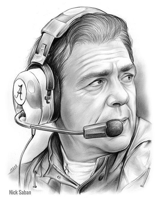 Legolas Quotes Wallpaper Nick Saban Alabama Football Coach Pencil Drawing On