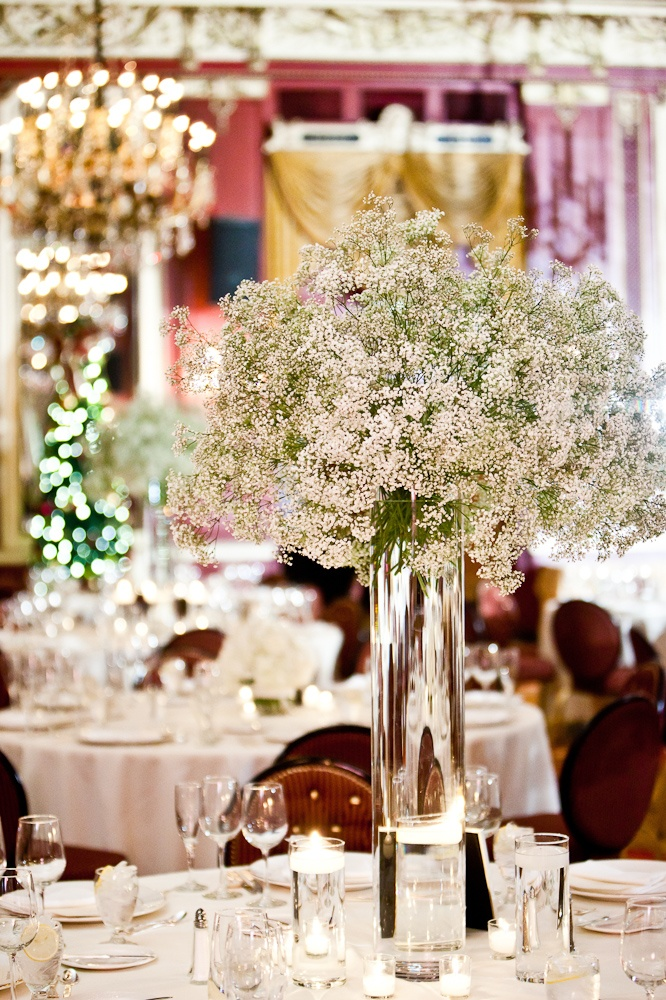 babys breath center piece  Classic Romantic Theme Wedding  Pinterest