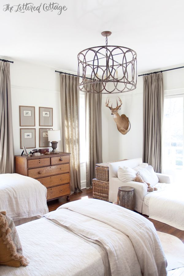 Boys Bedroom  Old House  Chandelier  Light Fixture  Antique Pine Dresser  White and Neutral