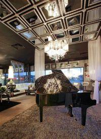 Custom Framed Mirror Ceiling Design. LUXE Gallery Showroom