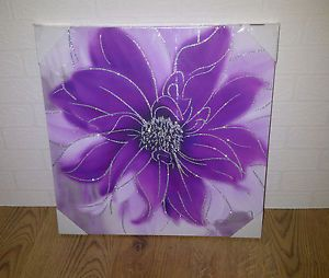 Purple and silver glitter flower canvas wall art picture