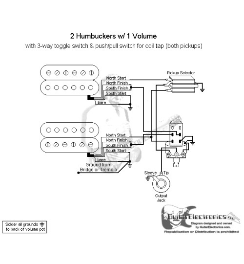 2 p90 wiring diagram 4 prong dryer outlet humbuckers/3-way toggle switch/1 volume/coil tap north | school stuff pinterest products ...