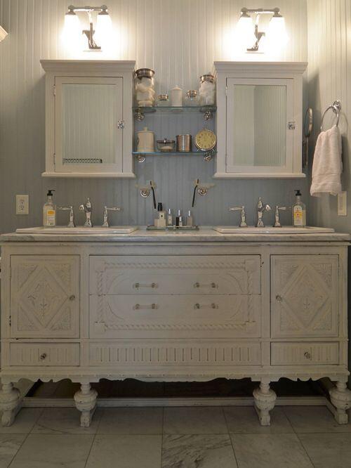 Amazing Vintage Buffet Repurposed into a Bathroom Vanity