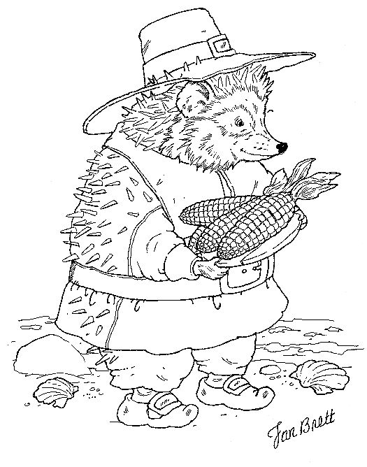 Jan Brett offers up a ton of sweet free coloring pages for