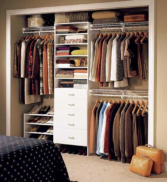 Pictures Of Small Bedroom Closets Layout Each Side Walk In His And Hers