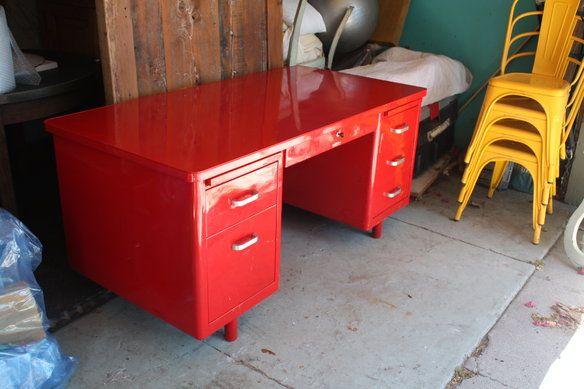 Vintage Red Metal Desk  Vintage Desks and Tanker desk