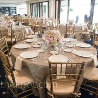 Taupe pintuck linens, ivory cloth napkins and gold ...
