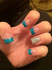 teal and silver acrylic nails