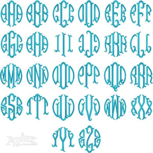 round circle fish tail large monogram embroidery font