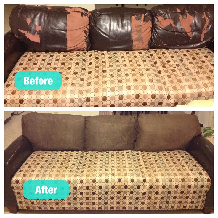 reupholster leather sofa diy half malaysia repair fix your torn or cat scratched couch with ...