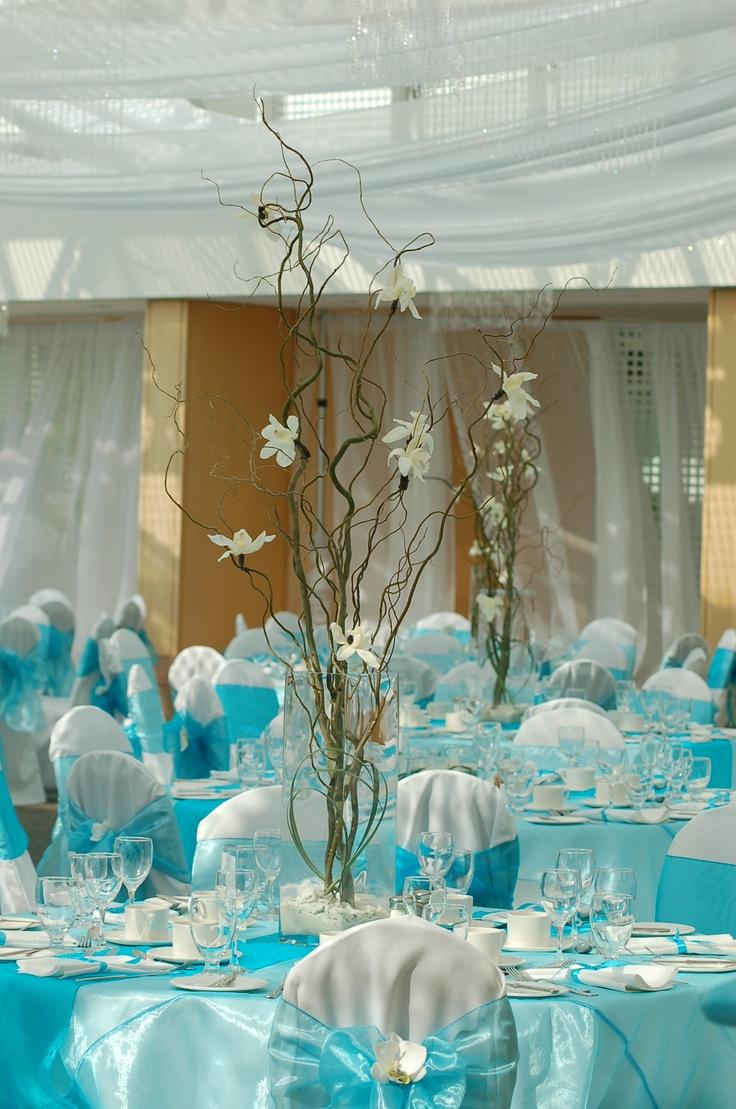 Blue wedding table decor  Wedding Flowers  Decorations