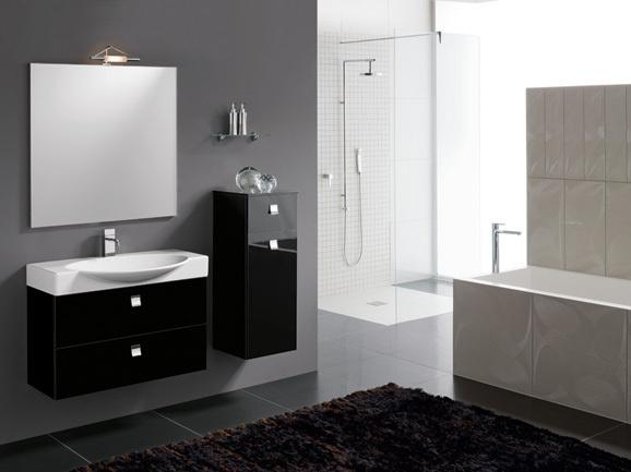 Bagno moderno in finitura nero lucido completo di base porta lavabo l 85 cm con consolle in