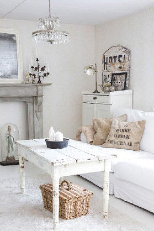 Rustic White Cottage Farmhouse Style  Living Room  Living Family and Great Rooms  Pinterest