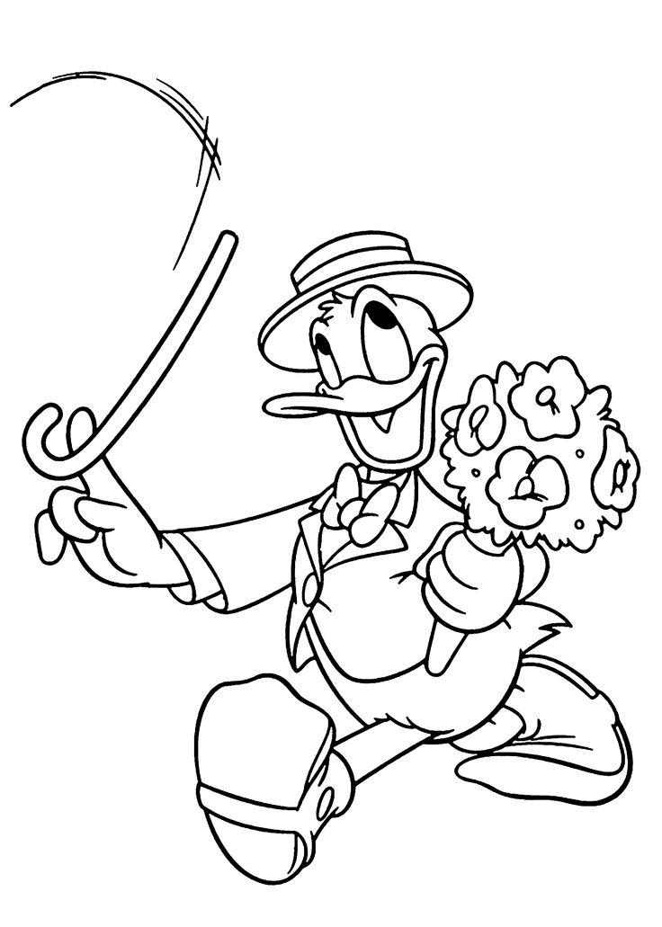 Donald Duck gentleman coloring pages for kids, printable