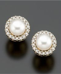 Every girl needs a pair of stud pearl and diamond studs ...