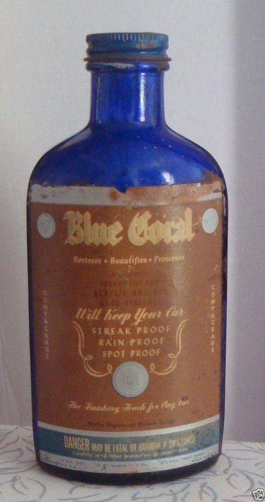 Vintage 1950 Blue Coral Car Wax Cobalt Blue 12 Oz Glass Bottle  Collectibles  Memorabilia