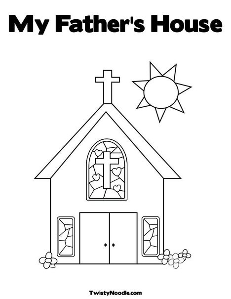 Church with Stained Glass Window Coloring Page-Cut the