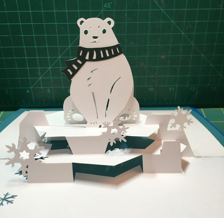 Polar Bear Pop Up Card Template From Cahier De Kirigami