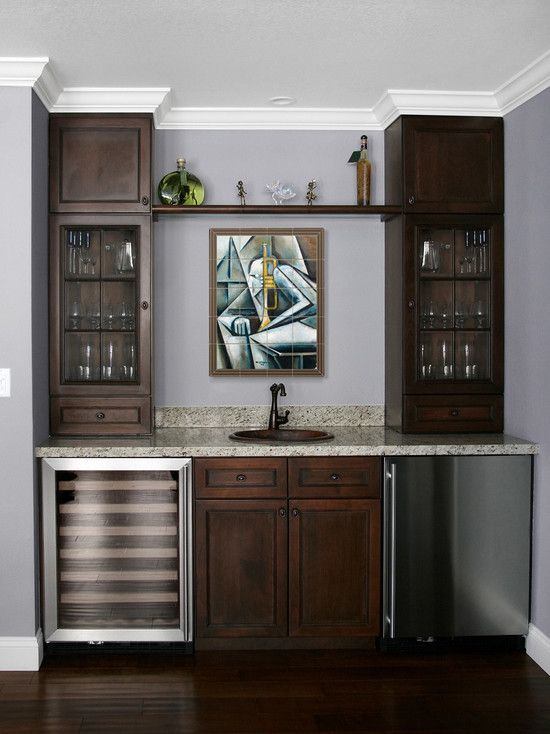 Built in bar Built ins and Wine fridge on Pinterest