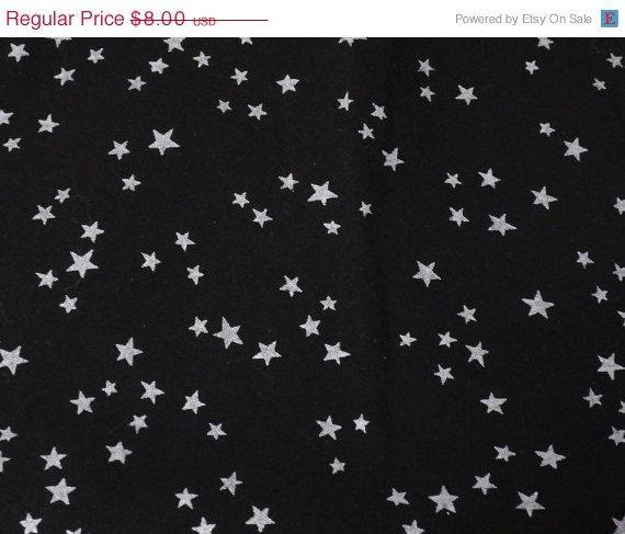 1 Yard Cut Silver Stars On A Black Background Silver