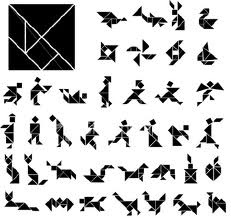 TANGRAM. Ancient Chinese moving piece puzzle, consisting