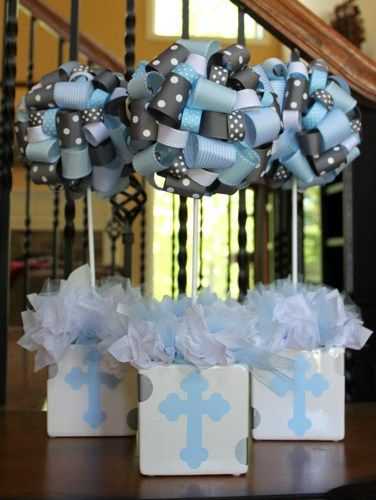 Baptism Christening Themed Ribbon Topiary in Baby Blue and Grey Cross