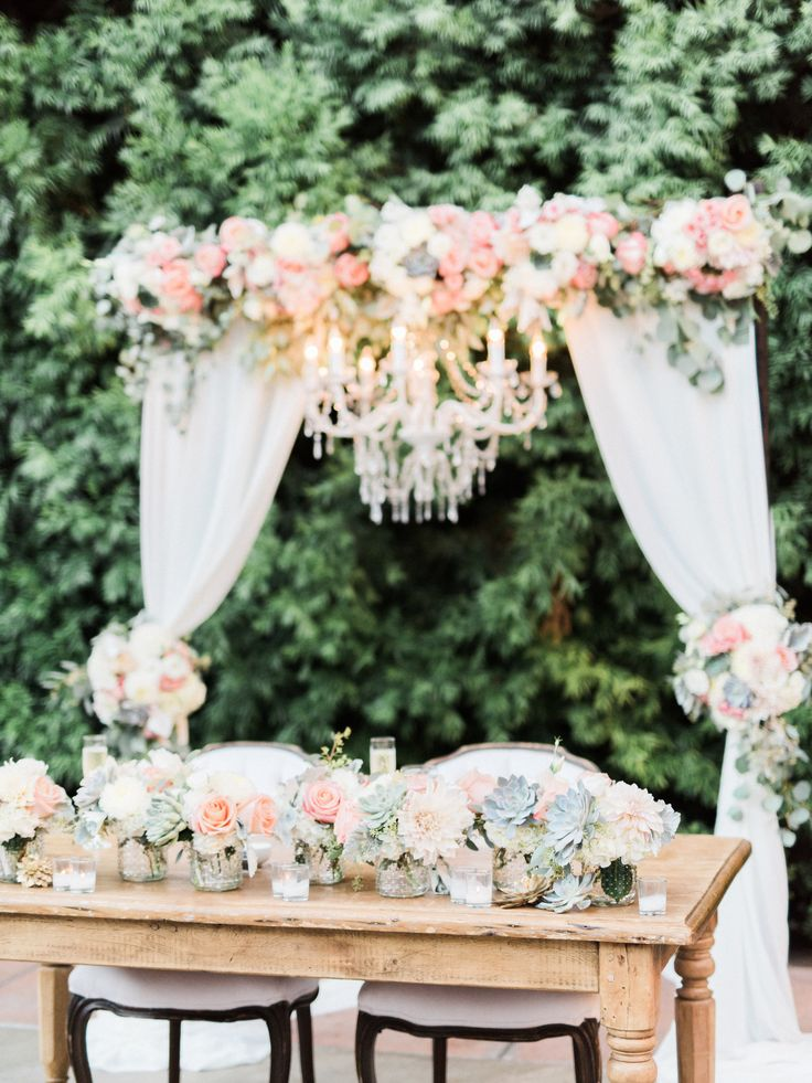 Fall Succulent Wallpaper Wedding Arch With Fabric And Chandelier Sweetheart Table