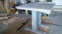 6x6 timber legs, bar table top, mixed grey with a white ...