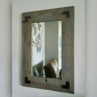 Rustic Mirror w/Metal Corner Brackets   Mirror, Rustic ...