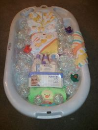 Bath time gift basket for baby shower. | Baby gift baskets ...