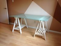 IKEA Glass desk top with adjustable white trestle legs
