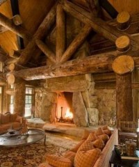 Beautiful log cabin living room with a gorgeous fireplace ...