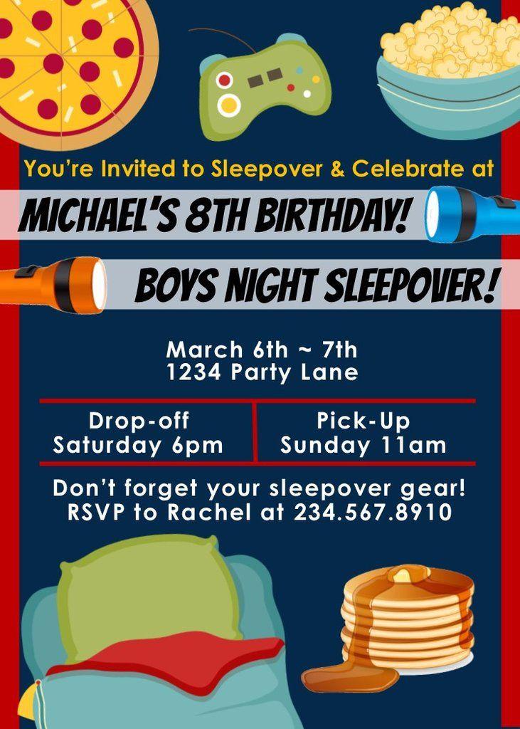 boys sleepover invitations