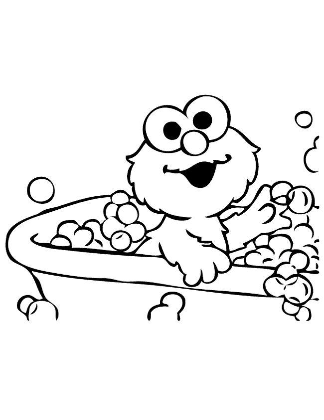 Baby Elmo Takes Bath Coloring Page