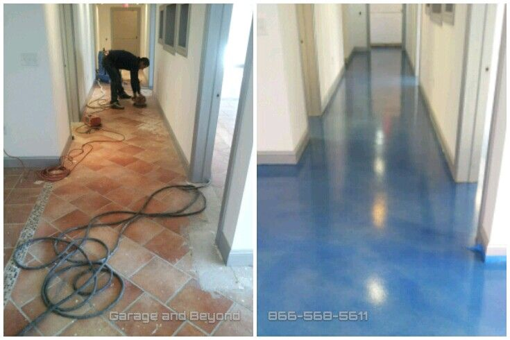Self Level Concrete Over Tile Stained Wave Affects Then