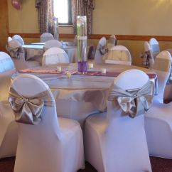 Used Spandex Chair Covers Retro Tables And Chairs Table Covers, Silver Satin Overlays Sashes,with A Victorian ...