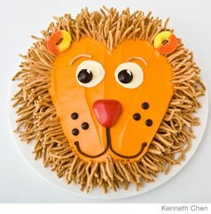 Lion Birthday Cake Design  How to make a lion birthday cake with chow-mein noodl