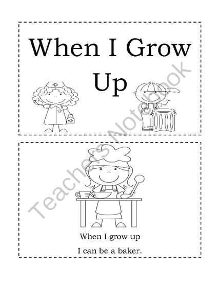 When I Grow Up- Emergent Reader from Angie'sPage on