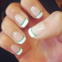 Uas sencillas blanco y verde - Simple nails white and ...