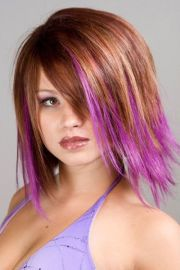 short hair purple tips