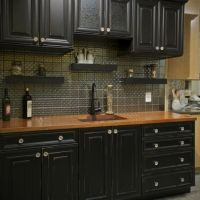 black kitchen cabinets with wood countertops   kitchen ...