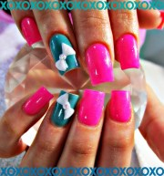 neon and 3d bows acrylic nails