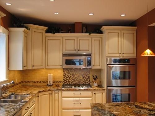 amish kitchen cabinets chicago counter lights glazed cabinets. microwave over stovetop. tile backsplash ...