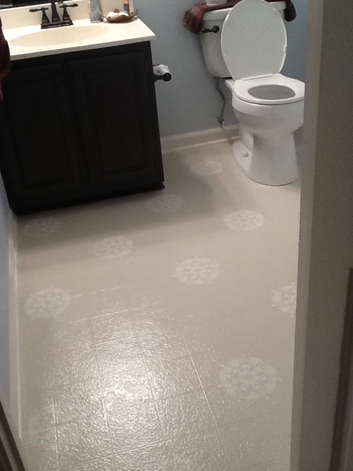 Painted linoleum floor My first Pinterest project I love