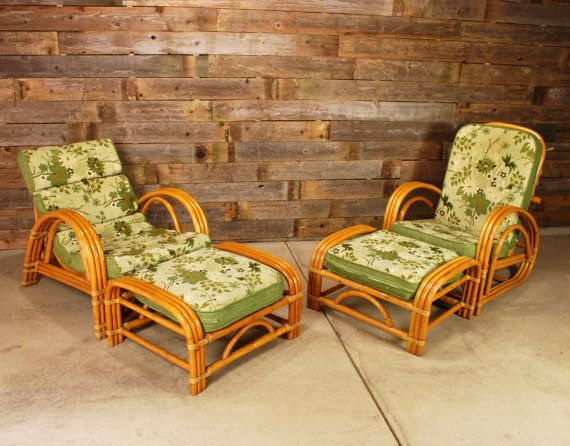 slipcovers for club chairs antique victorian folding rocking chair reserved dio // vintage bent rattan set 1950's tiki bamboo 4-piece - lounger ...