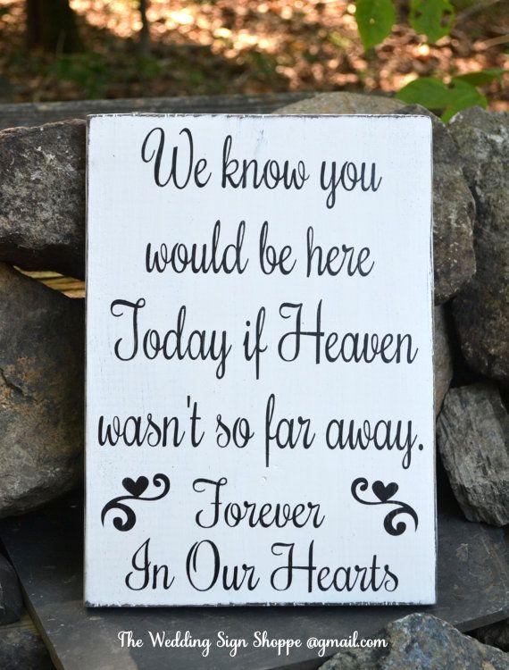 Hand Painted Wood Wedding Sign In Memory Of Loved Ones Heaven Plaque Wood Signs Memories Wedding Ceremony Decor Memorial Rustic