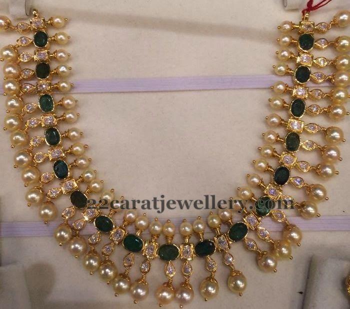 Jewellery Designs Emerald Pearls Set 35gms  Uncut Diamond Jewellery  Pinterest  Jewellery