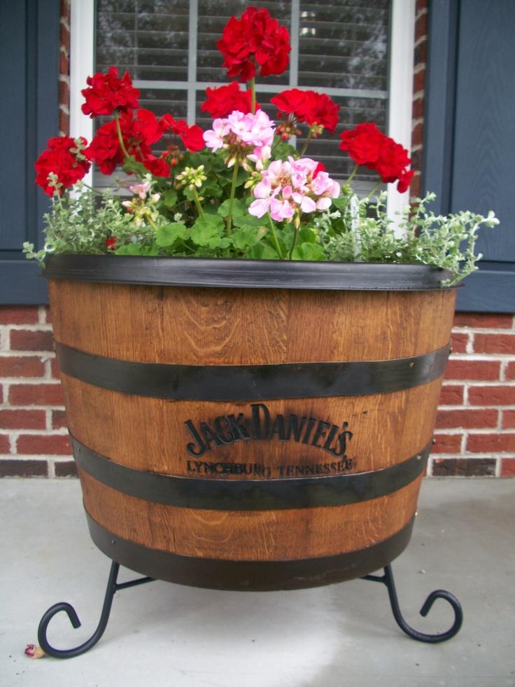 Our Jack Daniels whisky barrel planter  gardening